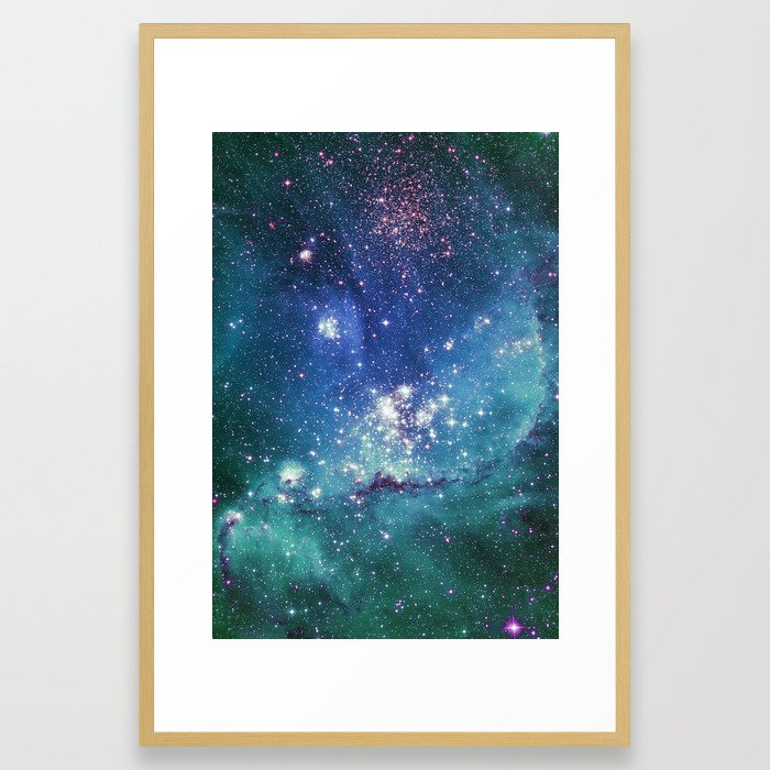 Turquoise Star Galaxy Framed Art Print