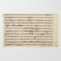 mozart Area & Throw Rugs featuring Mozart by Le petit Archiviste