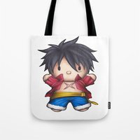 luffy Tote Bags featuring Hello Luffy by ADCArtAttack