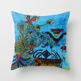 about angels and pirates Throw Pillow