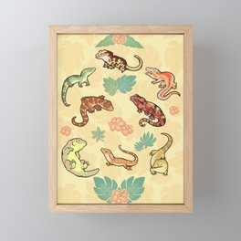 Gecko family in yellow Framed Mini Art Print