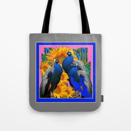 BLUE PEACOCK &  PINK-GREY COLOR YELLOW FLOWERS Tote Bag