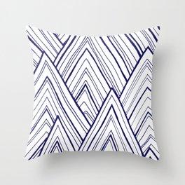 Stripe Mountains - Dark Blue Throw Pillow