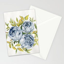Blue Flowers Watercolor Stationery Cards
