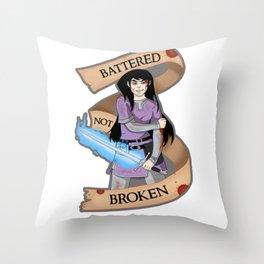 Battered Not Broken v.2 Throw Pillow