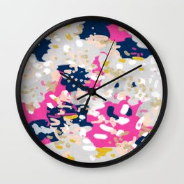 Michel - Abstract, girly, trendy art with pink, navy, blush, mustard for cell phones, dorm decor etc Wall Clock