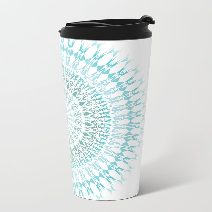 Turquoise White Mandala Metal Travel Mug