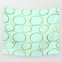 gold foil Wall Tapestries featuring Mint Gold Foil 01 by Aloke Design