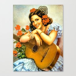 Mexican Calendar Girl with Guitar by Jesus Helguera Canvas Print