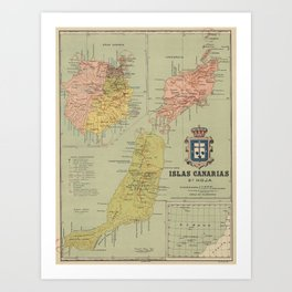 Vintage Map of The Canary Islands (1916) Art Print