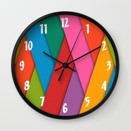 Bright Colored Overlapping Angled Lines Wall Clock