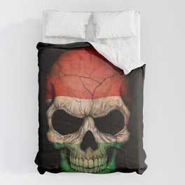 Dark Skull with Flag of Hungary Comforters