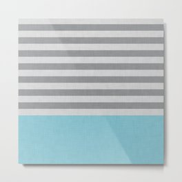 Blue and gray stripes and color block Metal Print
