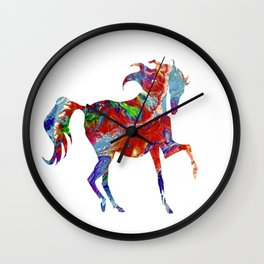 Horse Colorful Silhouette Wall Clock