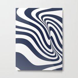 6-315-3, Navy Blue & White Messy stripes, Abstract fabric design, Boho decor, Metal Print