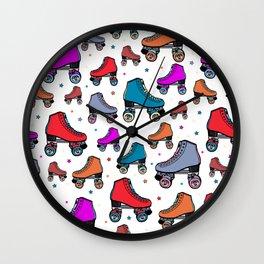 80s retro roller skates, red roller skates, cute pattern Wall Clock