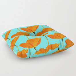 Poppies On A Turquoise Background #decor #society6 #buyart Floor Pillow