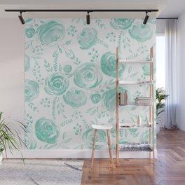 Watercolor Mint Roses Wall Mural