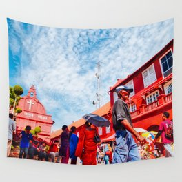Man walks by Christ Church Melaka Wall Tapestry
