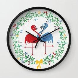 FlamingosTangled in Love Wall Clock