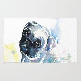 Pug Puppy in Splashy Watercolor Rug