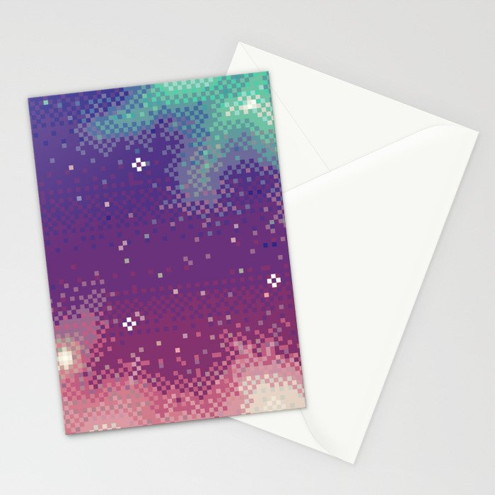 Rainbow Nebula (8bit) Stationery Cards