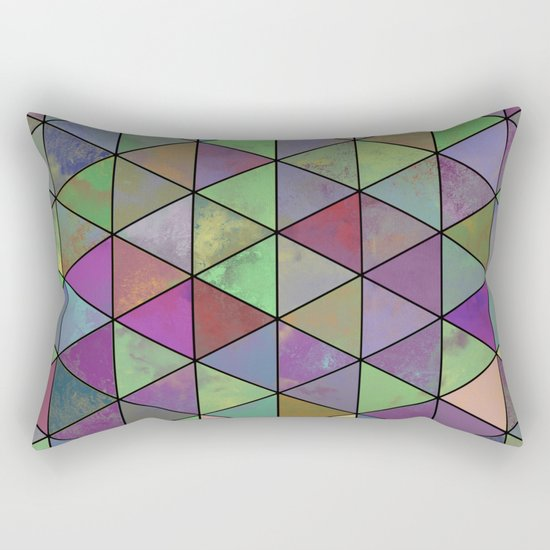 Pastel Triangulation - Abstract, textured, geometric painting Rectangular Pillow