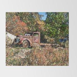 Old Trucker's Ride - Big Rig Truck Throw Blanket