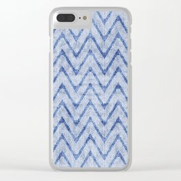 Sky and Ocean Blue Zigzag Imitation Terry Towel Clear iPhone Case