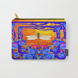 Blue Morning glories Dragonfly Golden Surreal Art Carry-All Pouch