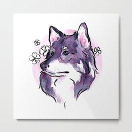 Purple Wolf Metal Print