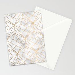 Geometric Gold Pattern on Marble Texture Stationery Cards