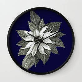 Florida Flower Navy Blue Background Wall Clock