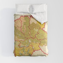 Vintage Map Print - 1895 ethnographic map of Tiflis Governorate and Zakatala district Comforters