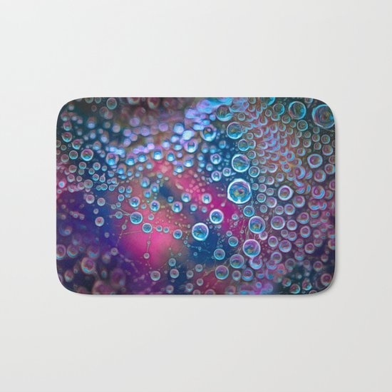 Magic iridescent colorful dew drops Bath Mat