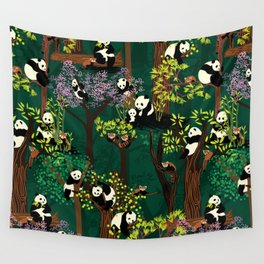 Both Species of Panda - Green Wall Tapestry