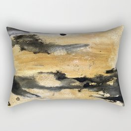 Black and Gold Brush Stroke Abstract Rectangular Pillow