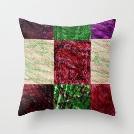 Patchwork color gradient and texture 2 Throw Pillow
