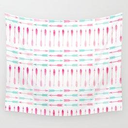 Trendy pink teal watercolor arrows pattern Wall Tapestry
