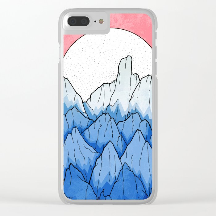 As the mountains turned blue Clear iPhone Case