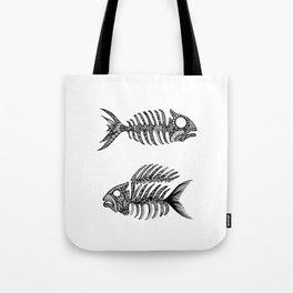 Original Artwork Fish Bone print, Abstract Ink Painting, Summer Home Decor, Seasonal Art Gift Tote Bag