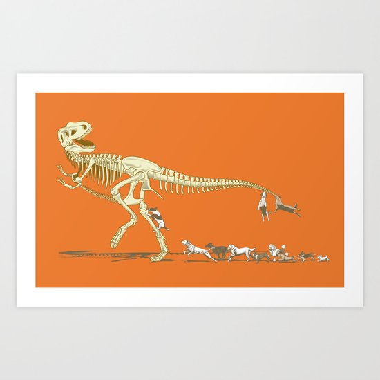 Run! T-rex! Run! Art Print