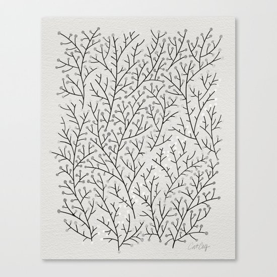 Berry Branches – Silver & Black Canvas Print