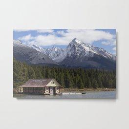 Historic Maligne Lake Boathouse Metal Print