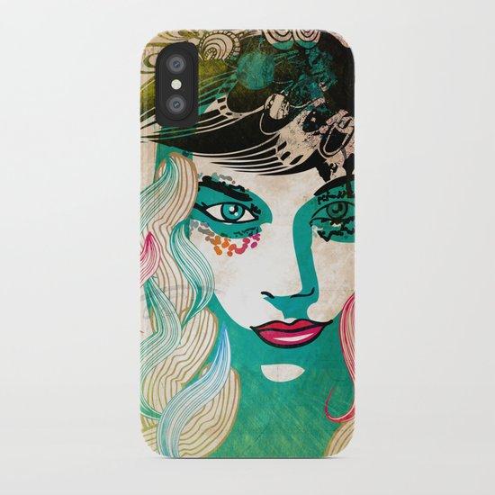 floral girl illustration iPhone Case