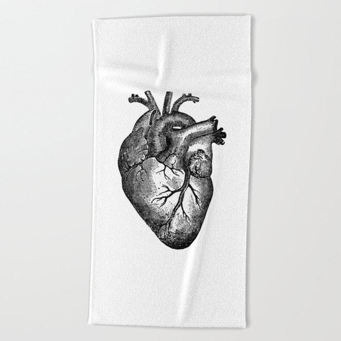 Vintage Heart Anatomy Beach Towel