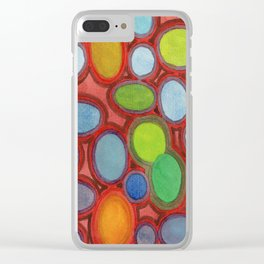 Abstract Moving Round Shapes Pattern Clear iPhone Case