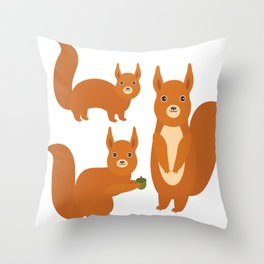 Set of funny red squirrels with fluffy tail with acorn  on white background Throw Pillow