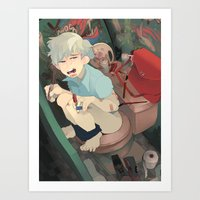 bathroom Art Prints featuring Bathroom by dropout kings