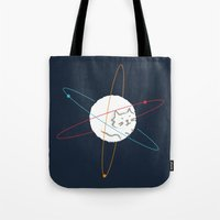 physics Tote Bags featuring Cat-ion by Picomodi